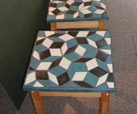 These table tops are made of two diamond shaped tiles in a unique pattern.