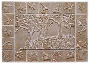Forest Mural with a 4x4 inch border of relief tiles