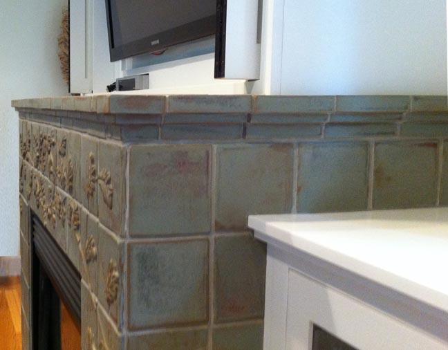 Tile wraps around firebox