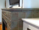 Tile wraps around firebox
